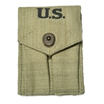 U.S. WWII .45 cal Double Mag Pouch Khaki 1943 Repro