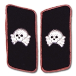 German Army Panzer Collar Tabs - Aluminum Skull - Pink Piping