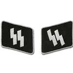 German Double SS Runes Collar Tabs - Bullion - EM Enlisted