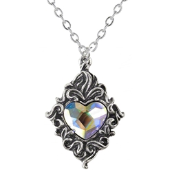 Crystal Heart Pendant Pewter Alchemy P711