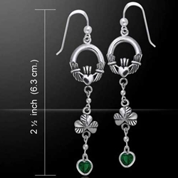 Celtic Claddagh Shamrock Emerald Glass Hearts Silver Earrings 52-TER153