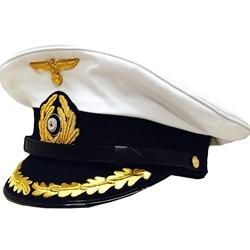 6d6427a5d74 German U-Boat Captains White Visor Cap - Collectors Grade - Repro - WWII  Repro