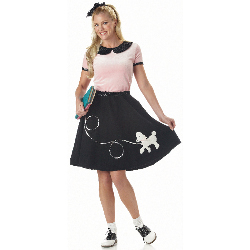 50's Hop With Poodle Skirt Adult Costume 100-132968