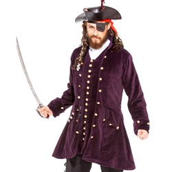 Plus Size Burgundy Velvet Pirate's Coat